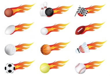 Sports balls of many types on fire with flames