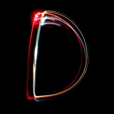 Letter D made from brightly coloured neon lights