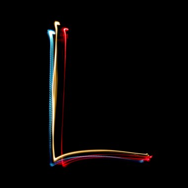 Letter L made from brightly coloured neon lights