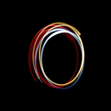 Letter O made from brightly coloured neon lights