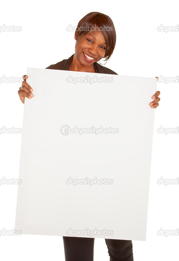 African American Woman Holding a Blank White Sign