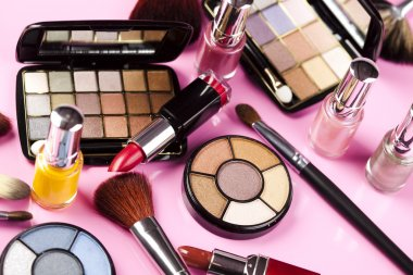Cosmetics, make up accessories stock vector
