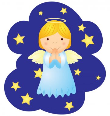Vector christmas angel in the night sky