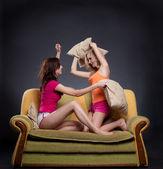 Fotografie Girls Pillow Fighting