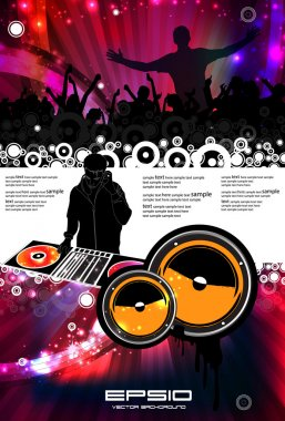 Vector illustration music event with DJ