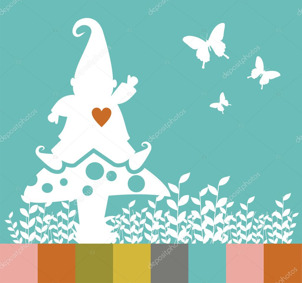 Christmas elf silhouette on a mushroom greeting card