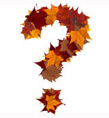 Photo Question mark multicolored fall leaf composition isolated