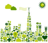 Photo Green City silhouette with environmental icons
