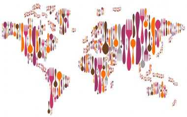 World made with cutlery colors silhouettes