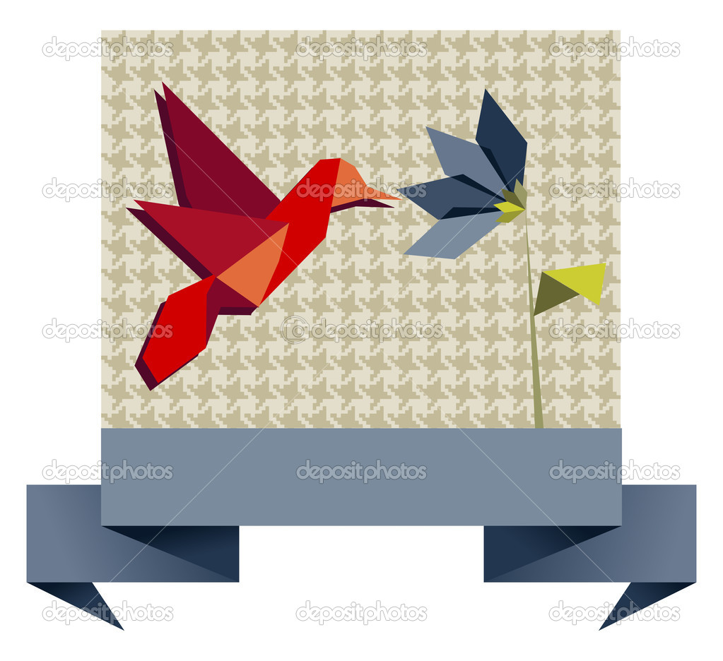Single Origami hummingbird over textile pattern