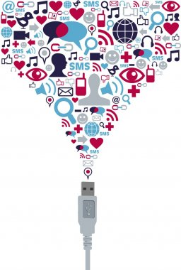 Social media icon set USB communication