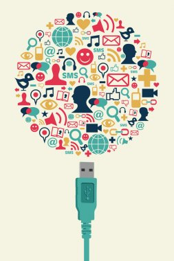 Social media icons in Globe shape with USB plug
