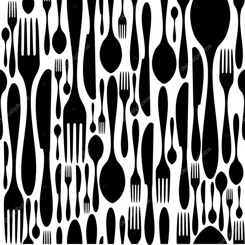 Bien connu modèle de coutellerie en noir et blanc — Image vectorielle #7870619 WX23