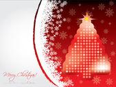 Karácsonyi kártya pontozott fa havazik
