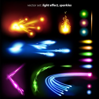 Vector set: light effect, sparkles