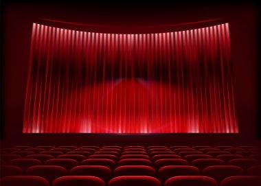 Cinema auditorium with stage curtain