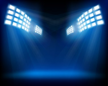 Row of floodlights. Vector illustration.