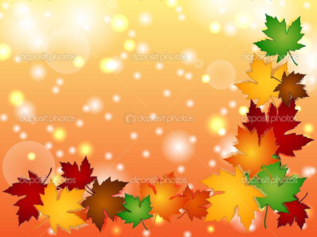 Maple leaves border with light effects