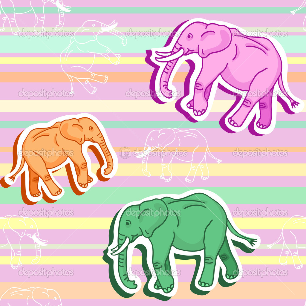 Beautiful Seamless Pattern Of Colorful Cartoon Elephants With Shadows Walking Around Over Stripes In Calming Pastel Shades Orange Green And Pink