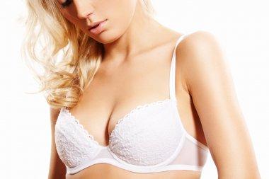 Lingerie model, sensual body. Beautiful lacy bra