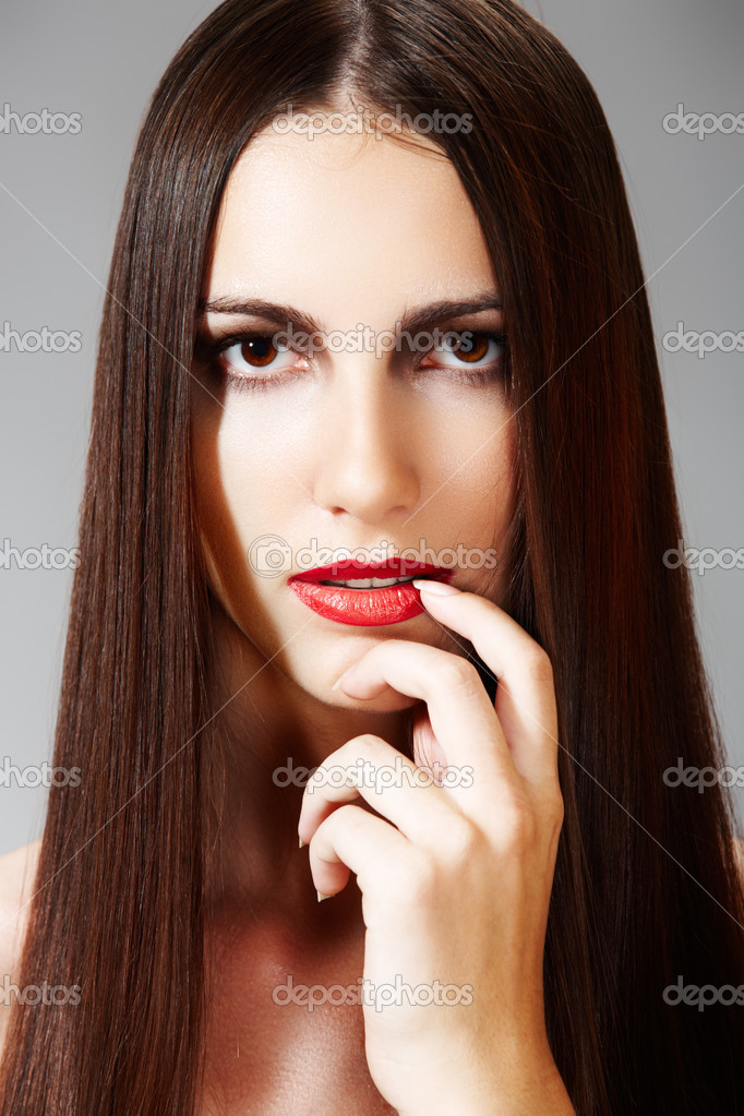 Woman Modell Mit Roten Lippen Mode Frisur Mit Glatte Lange