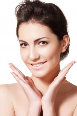 Beauty, wellness, healthcare. Female model face with natural soft skin