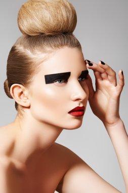High fashion style. Cosmetics and make-up. Beautiful woman model