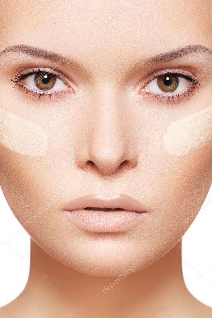 Make-up & cosmetics. Closeup portrait of beautiful woman model face