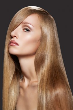 Well-being & spa. Sensual woman model with shiny straight long hair