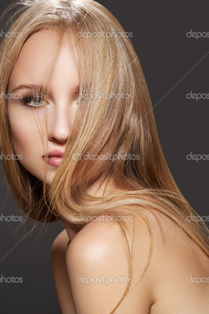 Long health hairstyle. Beauty and haircare. Sensual woman mode