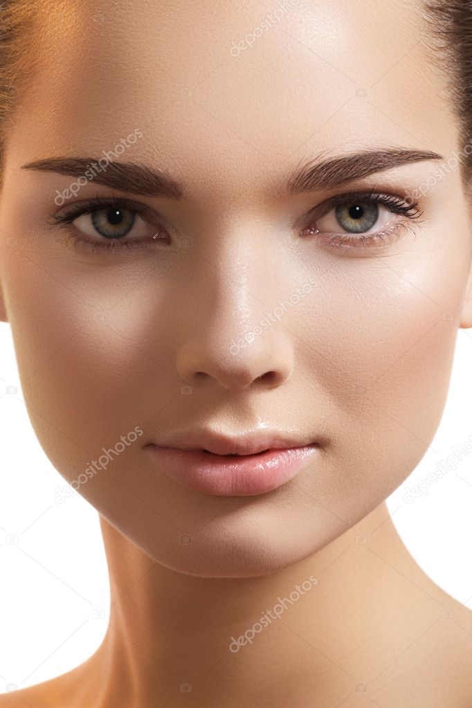 Natural beauty close-up portrait of beautiful young woman model face