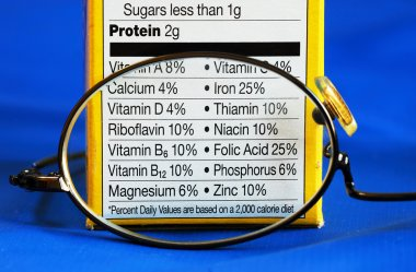Focus on the nutrition facts from a box of food concepts of eat healthy