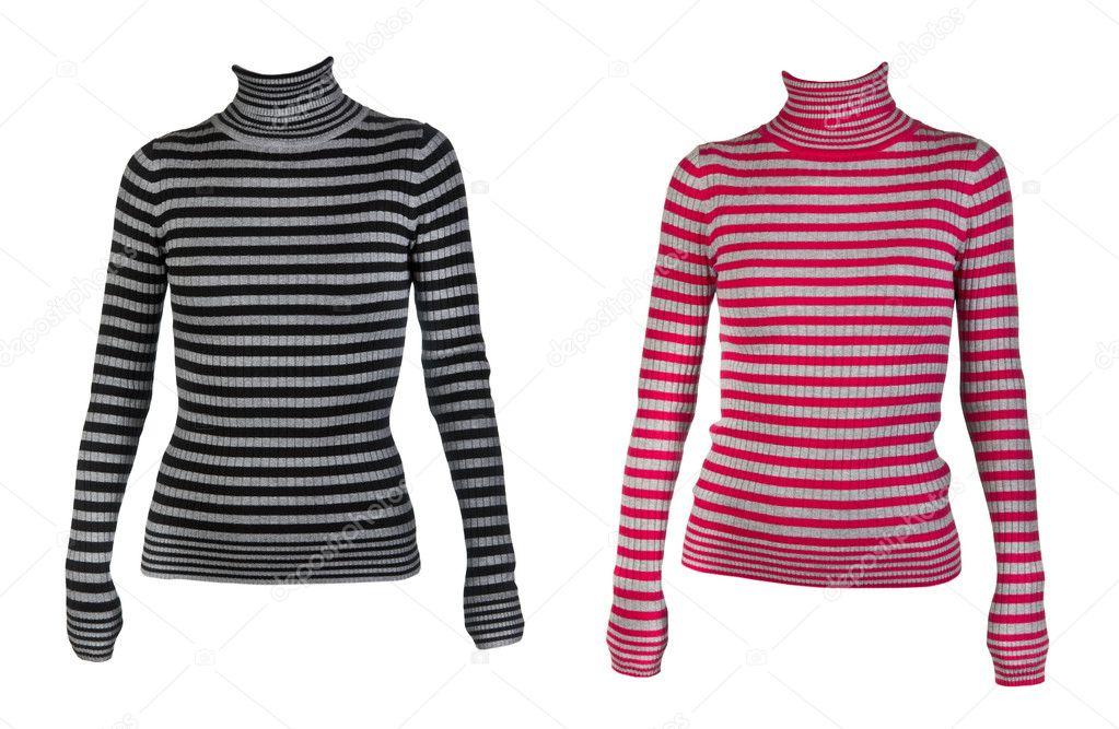 838dd799cf56 Κολάζ του δύο θηλυκά ριγέ πουλόβερ απομονώνονται σε λευκό φόντο — Εικόνα  από Ruslan