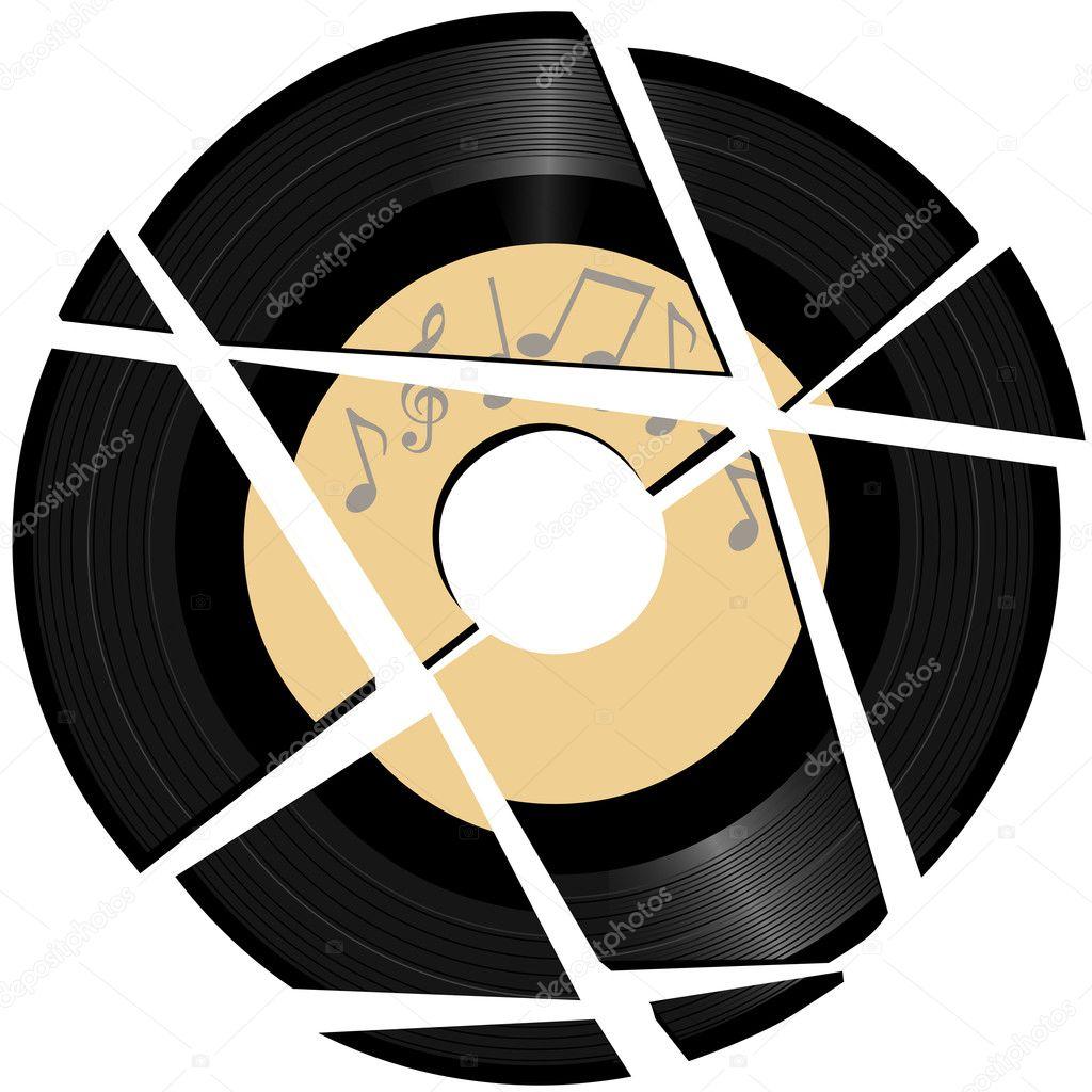 Broken Vinyl Record With Music Label Stock Vector C Michaeldb 7711739