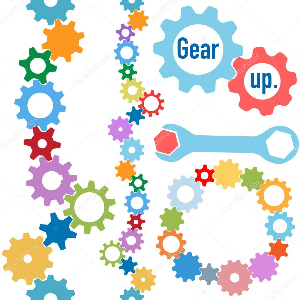 Gears colors industrial circle line border set — Stock ...