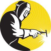 Fotografie svářeč, svařování na boční pohled na práci