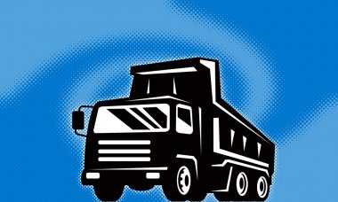 Illustration of a construction dump truck lorry done in retro style with halftone dot twirl or swirl in background stock vector