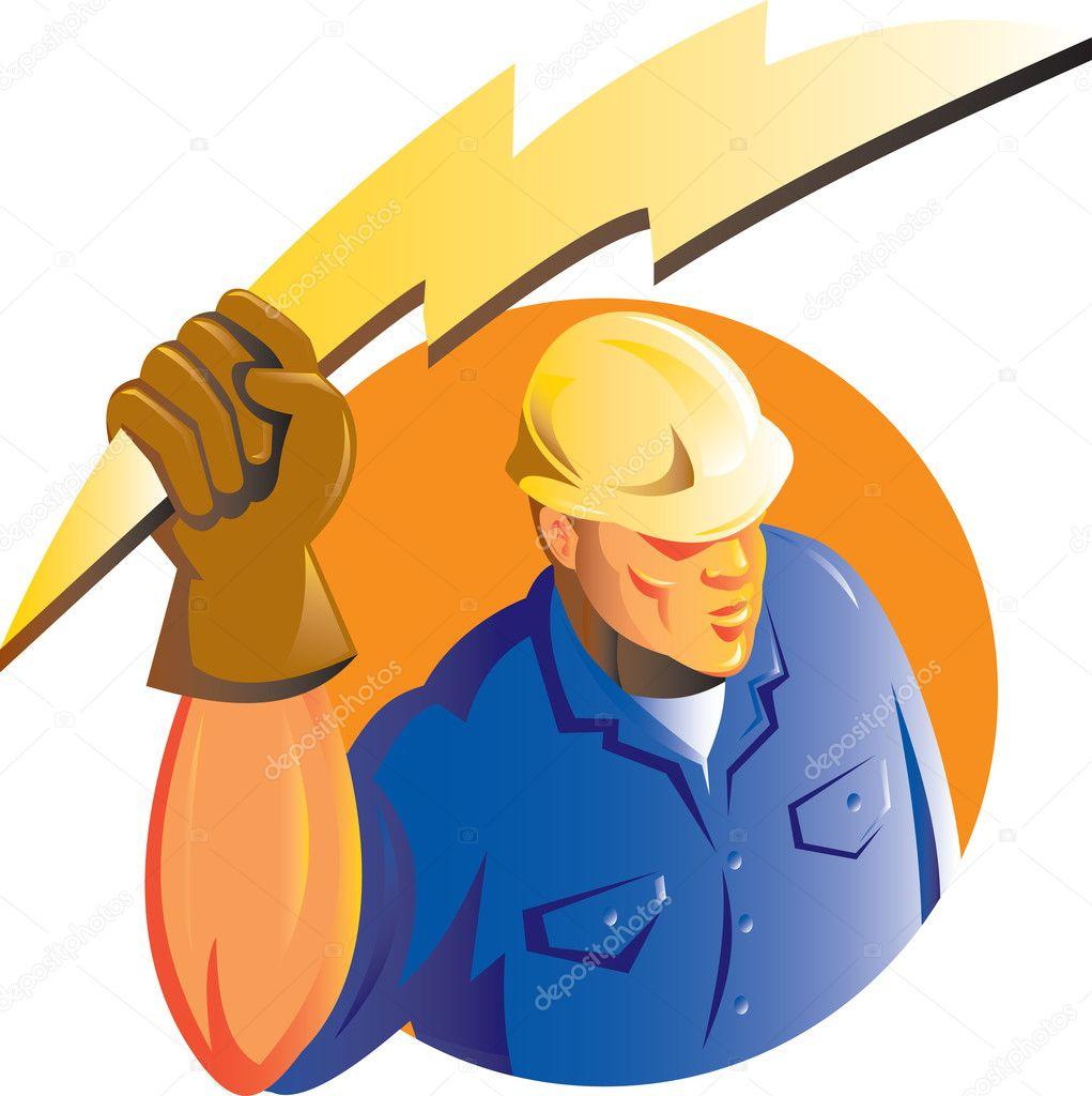 rayo construcción trabajador electricista — Fotos de Stock ...