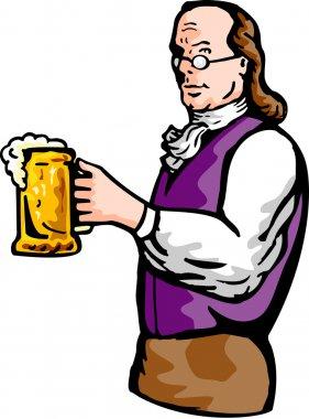Benjamin Franklin gentleman holding mug of beer