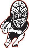 rögbi játékos fut rajta maori maszk
