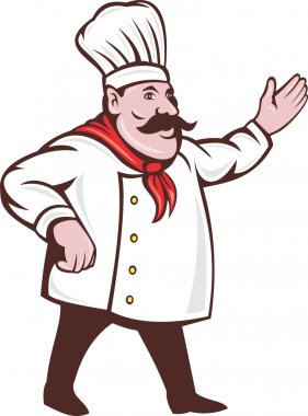 Illustration of a cartoon Italian chef with mustache saying hello or welcome with hands extended isolated on white stock vector