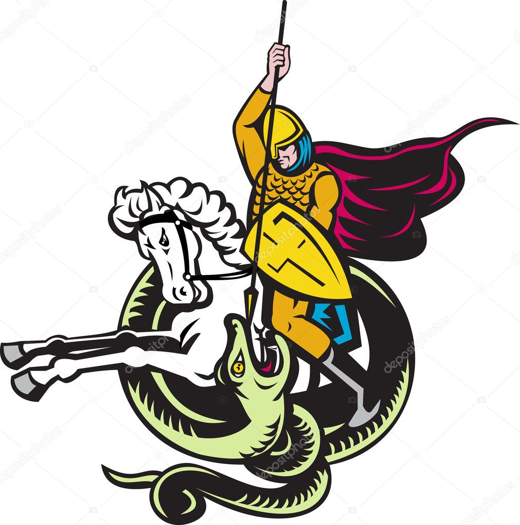 knight riding horse fighting dragon snake u2014 stock photo