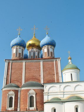 Domes of the temple in Ryazan Kremlin