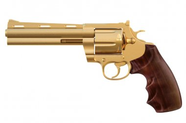 Golden revolver. isolated on white. stock vector