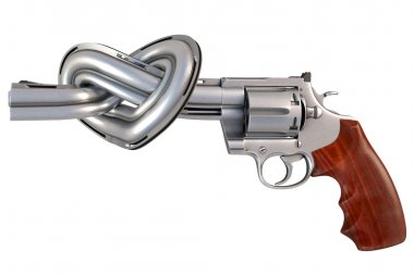 Revolver with the barrel tied in a heart-shaped. isolated on white. stock vector