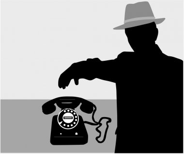Man on the phone - vector silhouette