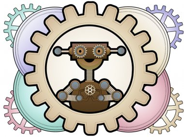 Steampunk robot inside colorful gears holding gears