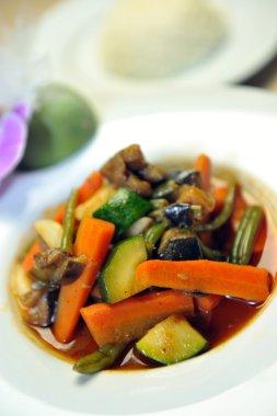 Wok steamed vegetables