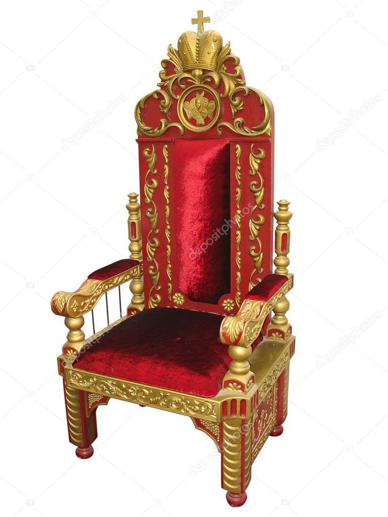 Roi Royal Chaise Trone Rouge Et Or Isole Sur Blanc Image De