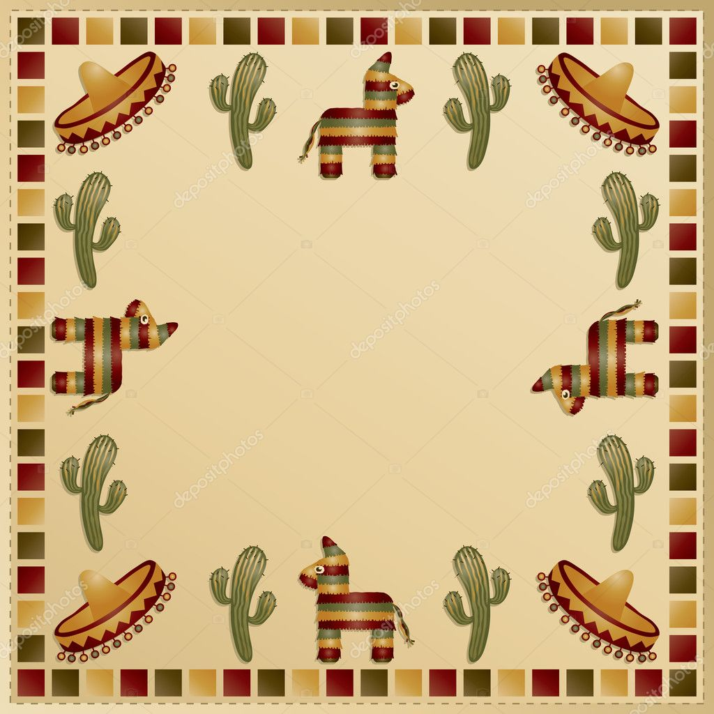 mexican frame with motifs and space for text vector by mattasbestos - Mexican Frame